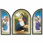 Nativity Icon Triptych Surrounded By Angels Wooden Gold Foil 4 3 4 Tall x 7