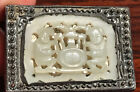 Antique Chinese White jade plaque on old silver match case