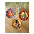 Set of 3 Christmas Ornaments Nativity Madonna  Child NOT BREAKABLE Each 4 3 4 I
