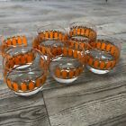 Vintage Orange and Gold Rounded Tumblers MCM Set of Six Glasses