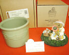 Longaberger Boyds Bear & CANDLE Topper Maggie &  SAGE Green Crock GREAT GIFT