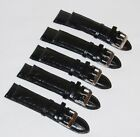 Lot of 5x NEW 24mm Black Synthetic Leather Watch Straps with Metal Buckle - USA