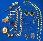 Vintage Jewelry Lot 18 Unique Pieces Some Marked Earrings Pins Necklace
