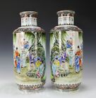 LARGE MIRROR PAIR OF HAND PAINTED CHINESE PORCELAIN VASES WITH FIGURES