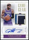 2017-18 National Treasures Vince Carter Game Gear Prime Patch Auto 08 25