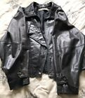 Womens Black Leather Motorcycle Jackey Snaps/Zippers Lg