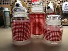 Vintage Anchor Hocking Glass Jar Canister Red White Checkered Gingham Set Of 3
