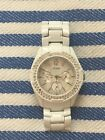 Guess Women's Waterpro MOP Dial White Stainless Steel Watch Chronograph - Works!