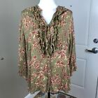 Soft Surroundings XL Ruffle Front Green Pink Floral Button Down Blouse Shirt