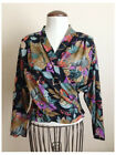 Womens In Group Ltd. Size 6 Floral Print Blouse Crossover Front Rayon Vintagr