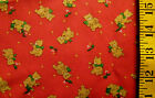 CHRISTMAS TEDDY BEARS GREEN HOLLY ON RED 100 COTTON FABRIC 16X43 + INCHES