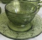 Indiana Glass #620 Daisy Pattern Green Glass  Teacups Saucers Plates
