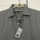 NWT Vince Mens L Shirt 100% Cotton White Gray Plaid Collared Long Sleeve Buttona