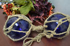 2 PCS COBALT BLUE REPRODUCTION GLASS FLOAT FISHING BALL WITH FISHNET 4
