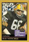 RAY NITSCHKE SIGNED 1991 ENOR CARD PRO FOOTBALL HALL OF FAME HOF AUTO PACKERS