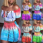 US Women Crop Top Short Skirt Bodycon Evening Cocktail Party Two Piece Set Dress