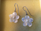 STERLING SILVER MOTHER OF PEARL AND SEED PEARL EAR RINGS NEW SUMMER SALE