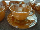 Vintage Oven Fire-King Ware Peach Luster Leaf Pattern Set of 20 Cups