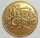 "Merry Chrostmas 1"" Antique Gold Finish Lapel Pins"