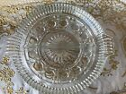Vintage Clear Crystal Cut Glass Divided Double Handle Relish Dish Tray