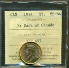 From The Hoard, 1914 Canada Gold $5.00 Ex Bank Of Canada, ICCS MS-64
