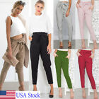 US Stock Women High Waist Lace Up Harem Pants Ladies Casual Pencil Pant Trousers