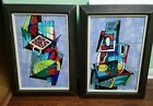 Mid century abstract Hanging tile Wall Art