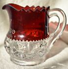 Vtg Cranberry glass King's Crown mini CREAMER  3 1/8 in. tall etched Katie 1910