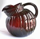 Vintage Anchor Hocking Royal Ruby Red Swirl Tilt Ball Pitcher