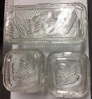 Vintage Set 3 Clear Glass Refrigerator Dishes Federal Glass Vegetable Jar Ribbed
