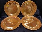 Vintage Anchor-Hocking Fire-King 1952-63; FOUR Peach Lustre Laurel 7-IN Plates