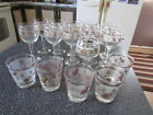 Vintage Lot 16 mid-century Libbey Glasses Frosted Gold Pine Cone Pattern