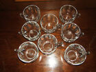 8 VINTAGE CLEAR GLASS PUNCH BOWL CUPS--GREAT CONDITION