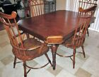 Antique Windsor Dining Arm Chair Table Set Spindle Back Bent wood nailhead Burl!