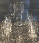Atomic Starburst Mid Century Modern Pitcher Etched Clear Glass And 9 Glass Set