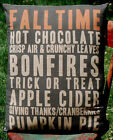 Harvest sign pumpkin words fall Halloween porch bench pillow decor primitive