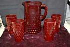 Vintage Anchor Hocking Royal Ruby Red Hobnail Pitcher + 4 Glasses  M4486