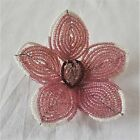 Vintage Glass Beaded Flowers Pink White Burgundy Wire Base  French