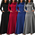 Womens Casual Pocket Cowl Neck Long Sleeve Swing Fit Maxi Dress Plus Size 2018