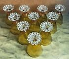 1960s Mid Century Modern Anchor Hocking Boopie Amber Glasses Set 10  BUBBLE FOOT