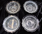 4 Vintage Clear Pressed Glass Dessert Berry Finger Tip Bowls Sunburst Starburst