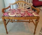 Antique Vintage French Provincial Carved Vanity Bench Stool Fabric Wood Piano