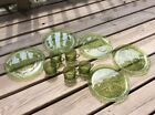 Anchor Hocking Glass 5 Avocado Green Soreno Snack Luncheon Plate Cup Sets