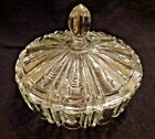 Vintage Anchor Hocking Glass Old Cafe Crystal Clear Covered Candy Trinket Dish
