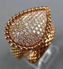 ESTATE LARGE .74CT PINK DIAMOND 18K ROSE GOLD 3D PEAR SHAPE CRISS CRPSS FUN RING
