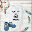 Big Sister Puggle Onesies  Blue Bow Tie Shoes Baby Shower Gift Set Newborn