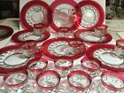 VTG 12 SETS 24 PCS KINGS CROWN RED FLASH THUMBPRINT LUNCHEON/SNACK PLATE
