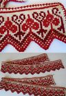 Vintage Danish Heart and Spade Hand  Embroidery Red Cross Stitch Trim Folk Set