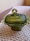 Vintage pressed glass, green square candy dish with lid, pedestal lace trim