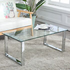 Modern Glass  Stainless Steel Coffee Table Side End Table Living Room Furniture